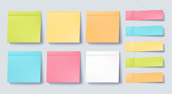 Post note sticker set isolated on transparent background. Paper sticky tape with shadow. Vector office color post note sticks for advertising design.