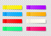 Post note sticker set isolated on transparent background. Paper sticky tape with shadow. Vector office color post sticks for advertising design