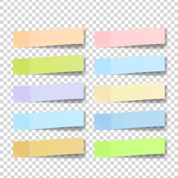 post note sticker vector. color sticky notes. isolated 3d realistic illustration - post it notes stock illustrations