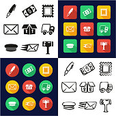 Post Office All in One Icons Black & White Color Flat Design Freehand Set