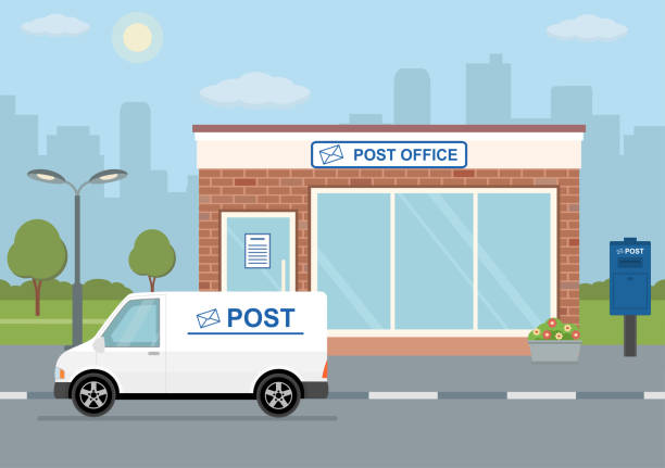 post office building, delivery truck and mailbox on city background. - delivery van stock illustrations, clip art, cartoons, & icons
