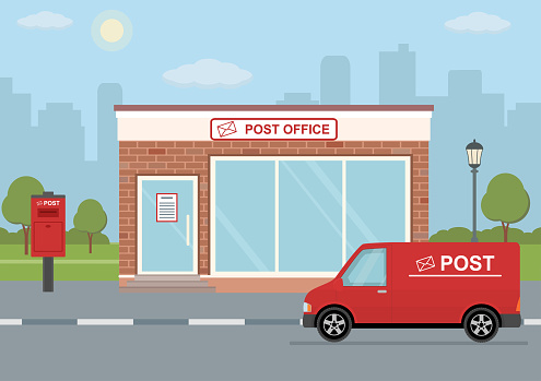 Post office building, delivery truck and mailbox on city background.