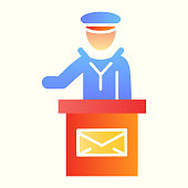 Post office employee line icon. Mail man speech on stand with envelope sign. Postal service vector design concept, outline style pictogram on white background, use for web and app. Eps 10