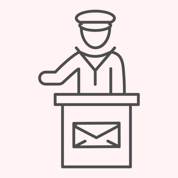 bildbanksillustrationer, clip art samt tecknat material och ikoner med ikonen för postkontoranställd. mail man tal på stativ med kuvert tecken. posttjänst vektor design koncept, disposition stil piktogram på vit bakgrund, användning för webb och app. eps 10. - endast en man