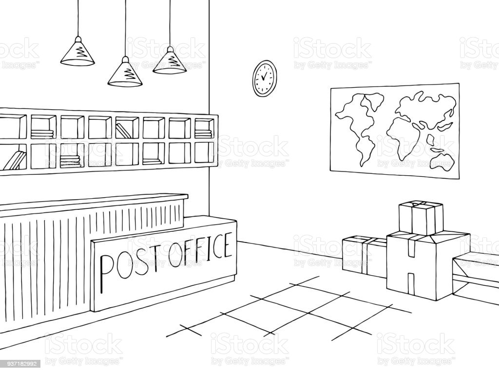 Good Post Office Graphic Interior Black White Sketch Illustration Vector Vector  Art Illustration