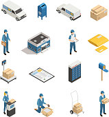 Postal mail shipping service isometric icons set with post office parcels mailman and postoffice box isolated vector illustration