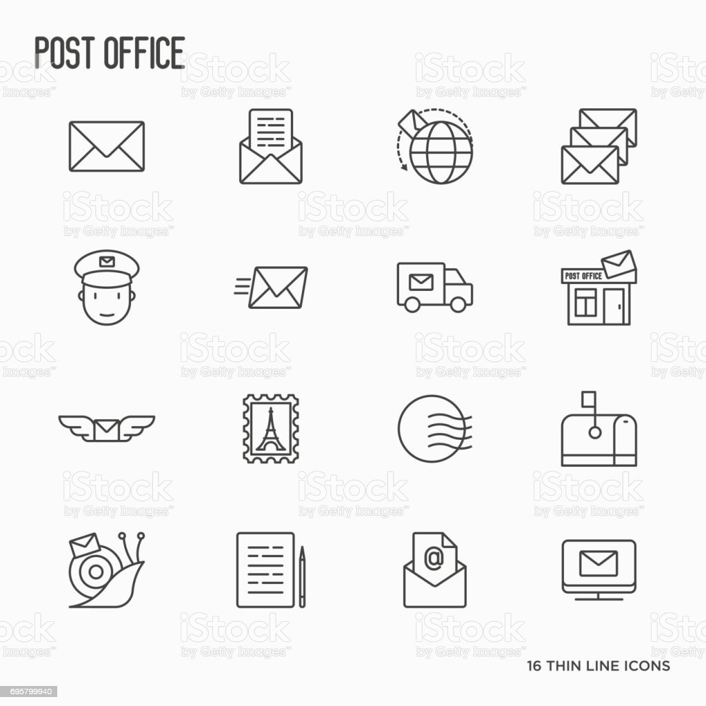 Post office related thin line icons set. Symbols of shipping, delivery, packaging. Vector illustration. vector art illustration