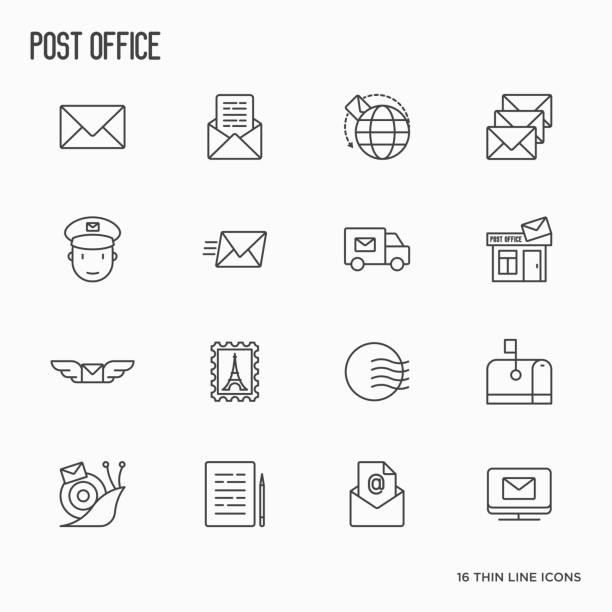 post office related thin line icons set. symbols of shipping, delivery, packaging. vector illustration. - postal worker stock illustrations