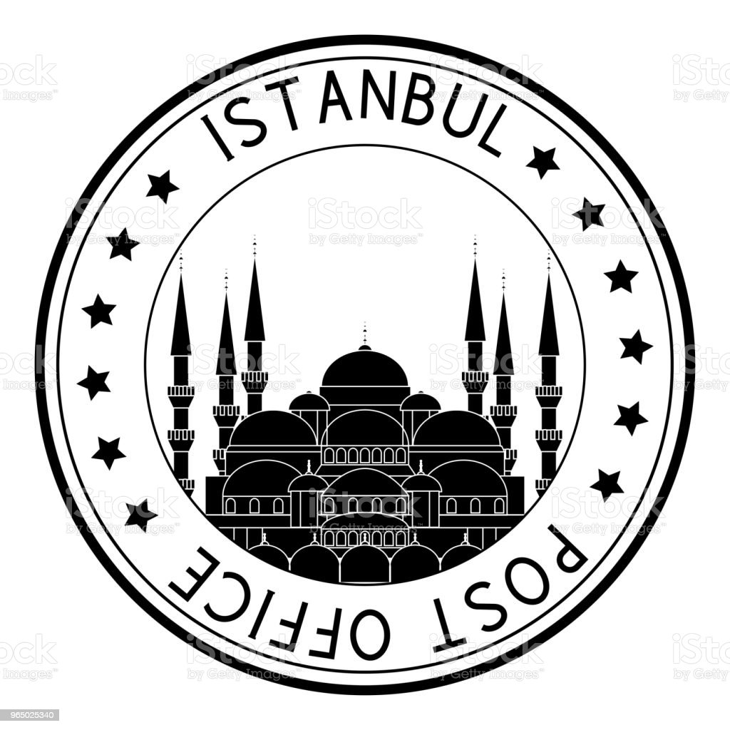 Post office round postmark with Blue mosque black icon. Istanbul, Turkey vector art illustration
