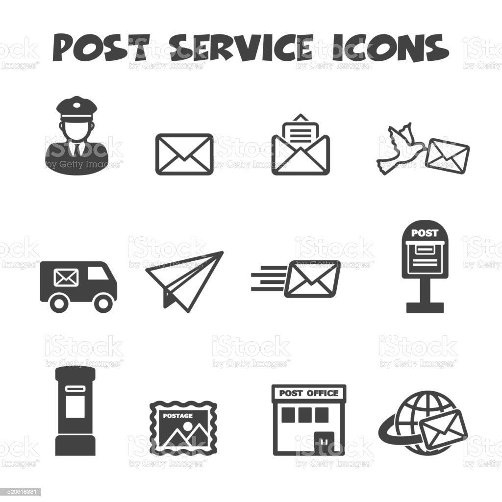 post service icons vector art illustration