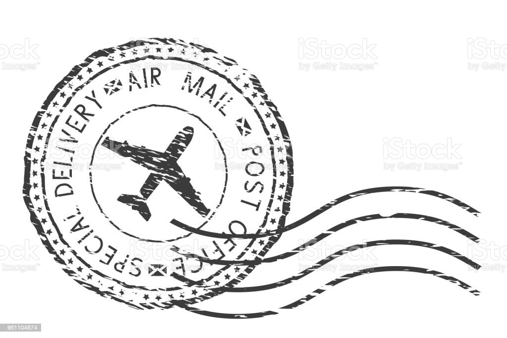 Post Service Special Delivery Air Mail Black Postmark With Plane
