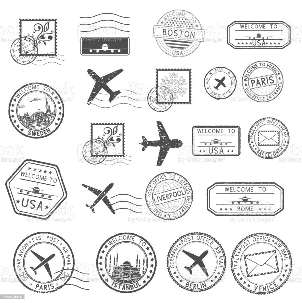 Post stamps. Set of black postmarks and travel Welcome stamps post stamps set of black postmarks and travel welcome stamps - immagini vettoriali stock e altre immagini di aeroplano royalty-free
