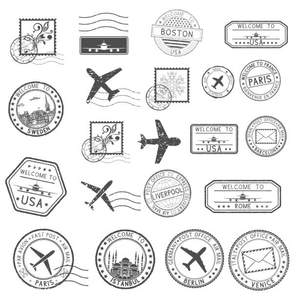 post stamps. set of black postmarks and travel welcome stamps - postcard stock illustrations