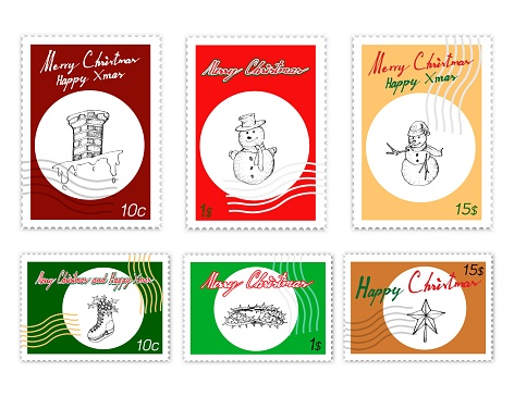Post Stamps Set of Hand Drawn Christmas Items