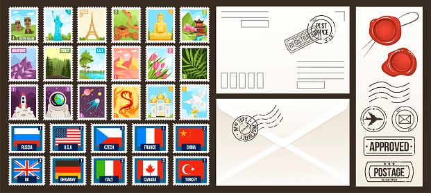 Post stamps vector illustrations. Cartoon flat postal collection of postage stamps, country of the world, vintage travel or nature labels and badges set, retro seal and postmark mail design templates