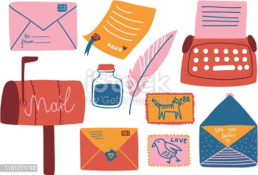 Post Supplies Set, Mailbox, Letters, Postcard, Pen, Inkwell Typewriter Vector Illustration on White Background