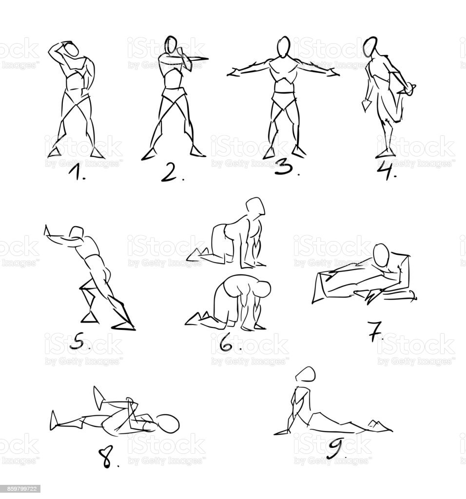 Post Workout Stretchig Exercises Sketch royalty-free post workout stretchig exercises sketch stock vector art & more images of adult