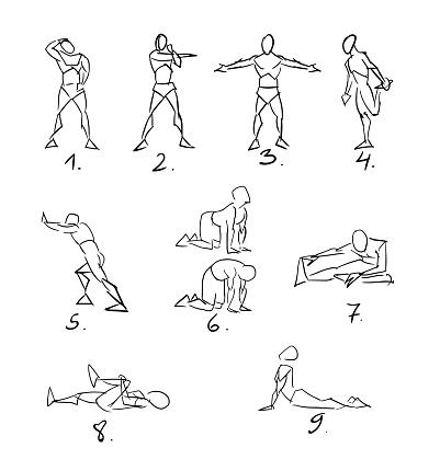 Post Workout Stretchig Exercises Sketch