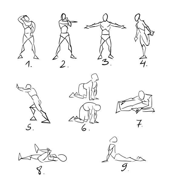 Post Workout Stretchig Exercises Sketch vector art illustration