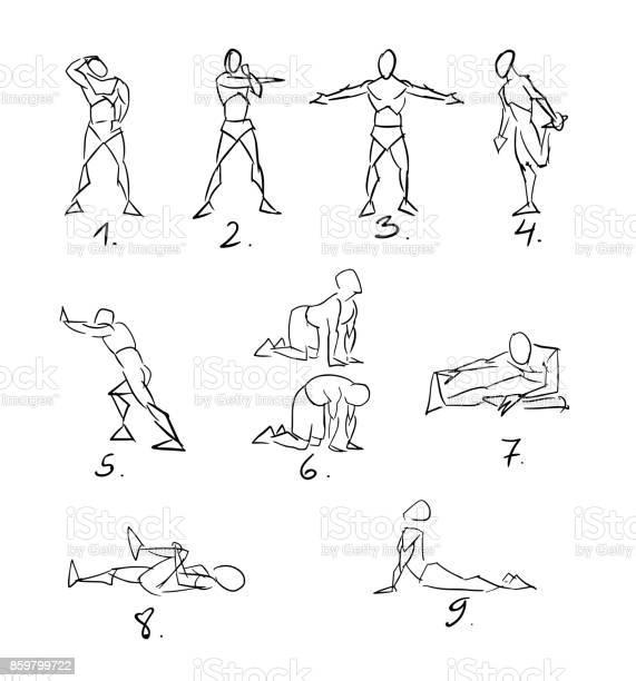 Post Workout Stretchig Exercises Sketch Stock Illustration - Download Image Now