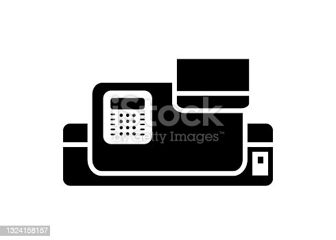 istock Postage meter machine. Simple illustration in black and white. 1324158157
