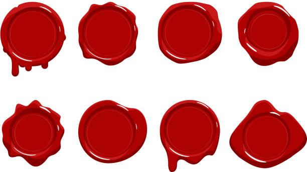 stockillustraties, clipart, cartoons en iconen met port red wax seal scroll stamp leeg teken diploma certificaat geïsoleerd op witte modellen pictogrammen set platte ontwerp vector illustratie - antiek toestand