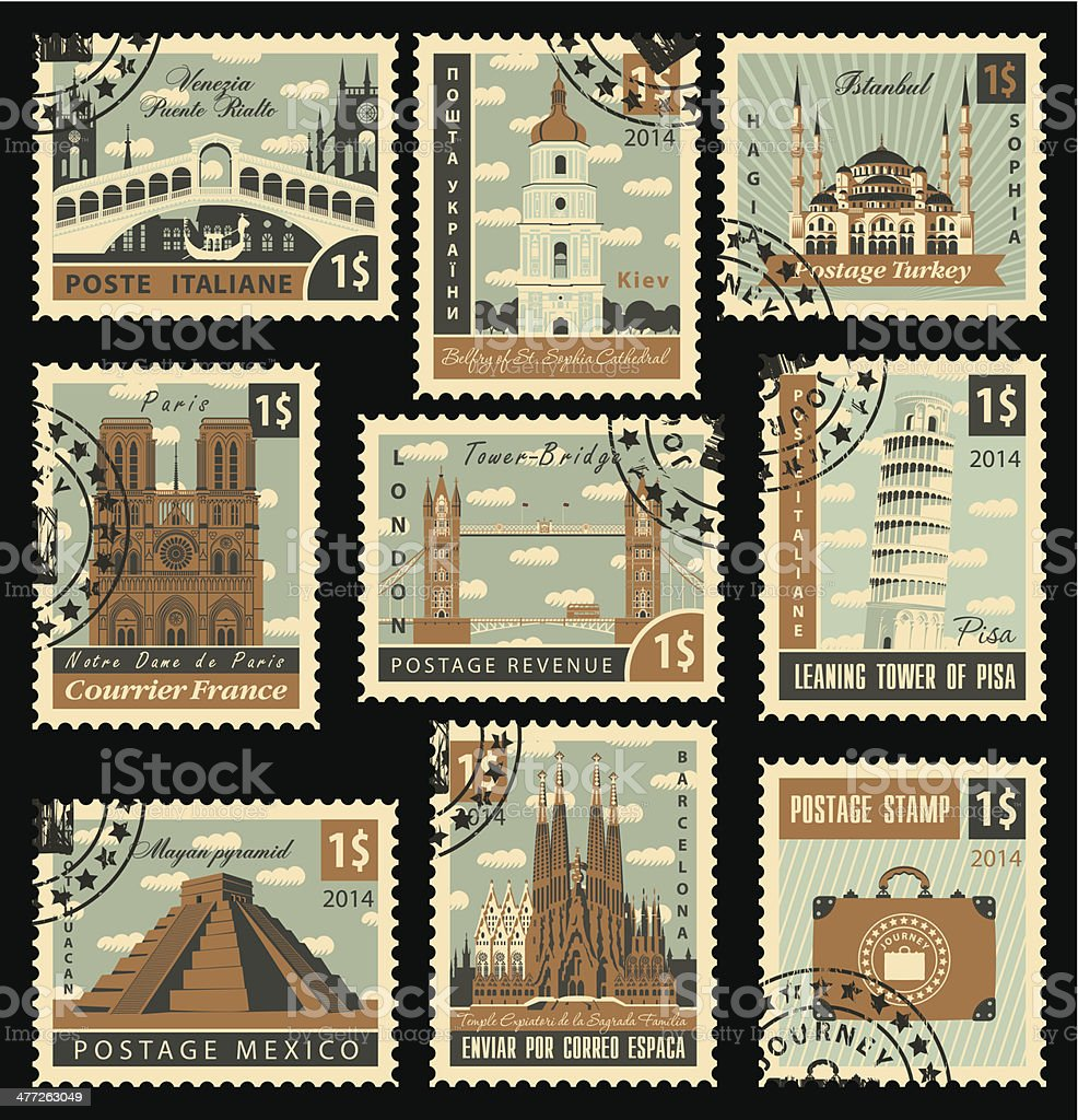 postage stamp city vector art illustration