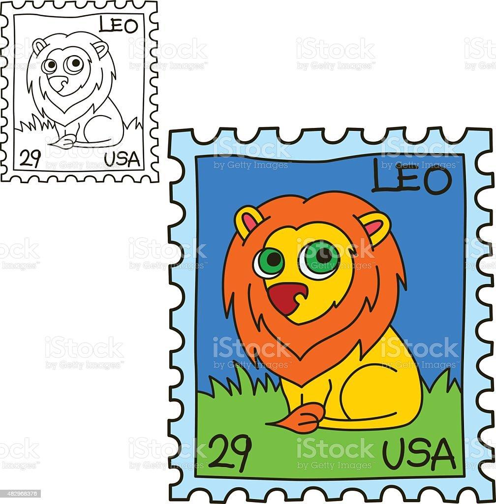 Ilustración de Sello Postal Libro Para Colorear Página Ilustración ...