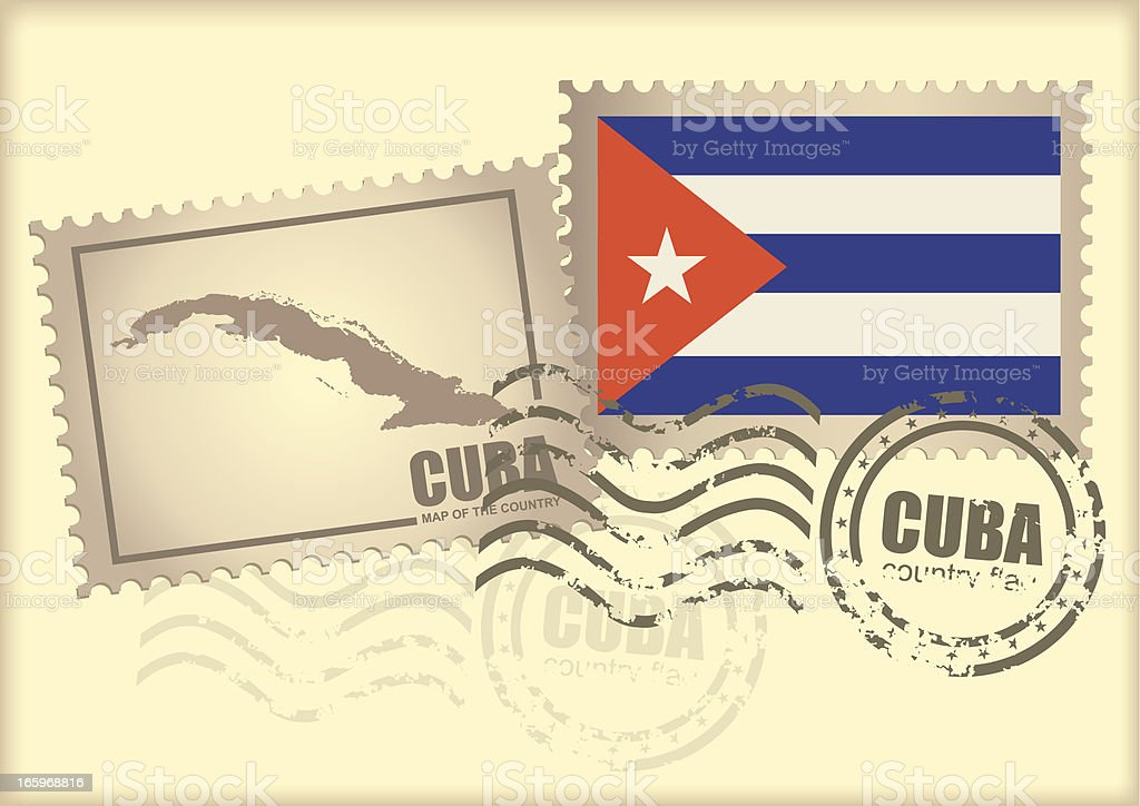 postage stamp Cuba royalty-free stock vector art