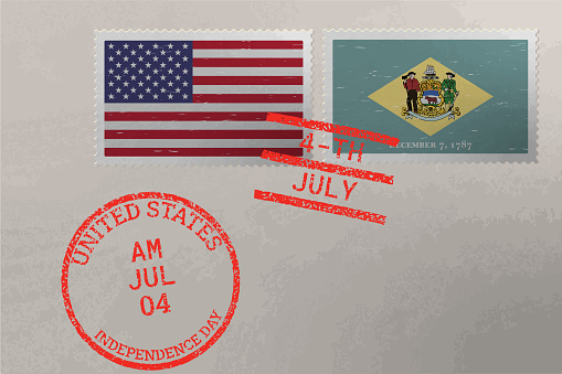 Postage stamp envelope with Delaware and USA flag and 4-th July stamps, vector