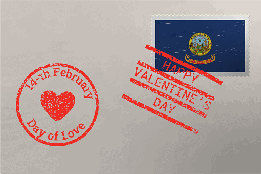 Postage stamp envelope with Idaho US flag and Valentine s Day stamps, vector