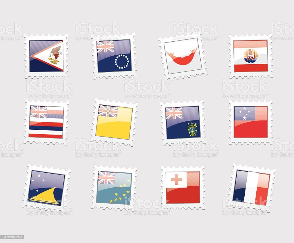 Postage Stamp Flags: Polynesia royalty-free stock vector art