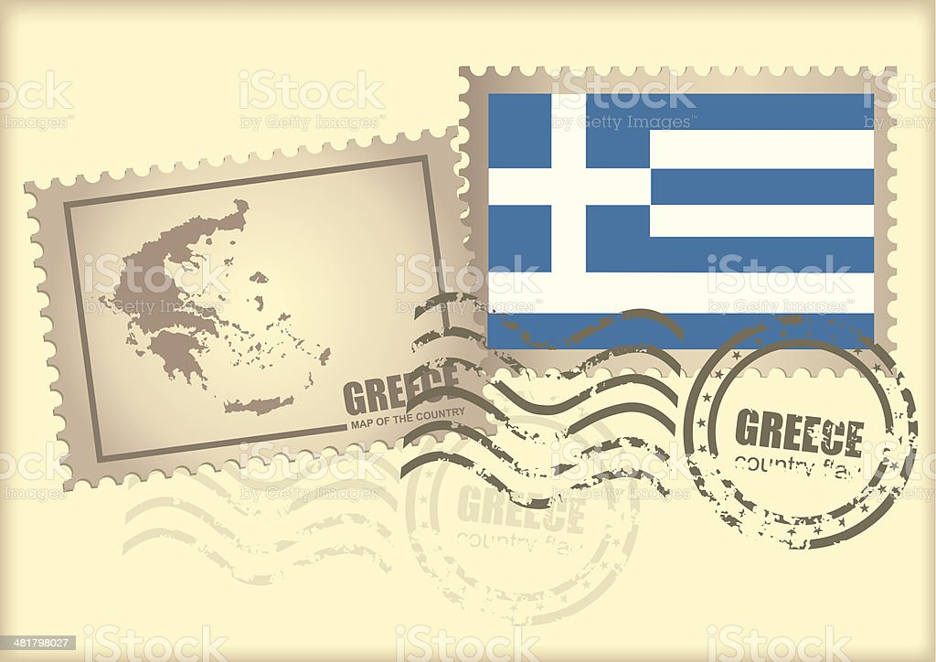 postage stamp Greece royalty-free stock vector art