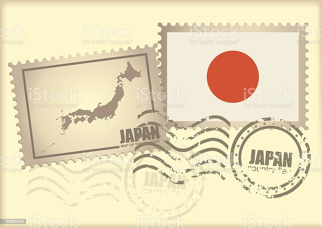 postage stamp Japan royalty-free stock vector art