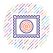 Line vector icon illustration of postage stamp collection.