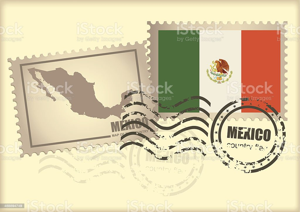 postage stamp Mexico vector art illustration