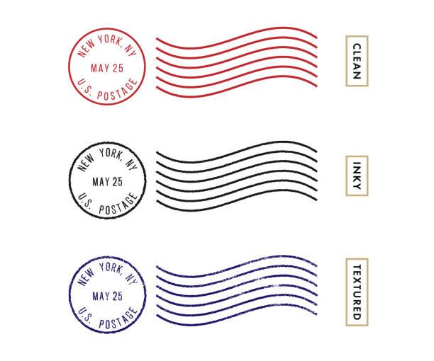 Postage Stamp Set (Live Stroke Path) Postage Stamp Set on the White Background postmark stock illustrations