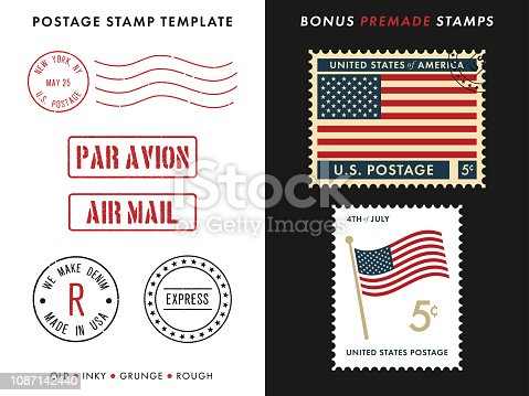 Postage Stamp Template Set on the Black and White Background