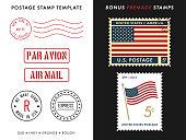 istock Postage Stamp Template Set 1087142440