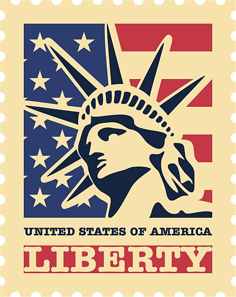 illustrazioni stock, clip art, cartoni animati e icone di tendenza di stati uniti francobollo postale. - souvenir