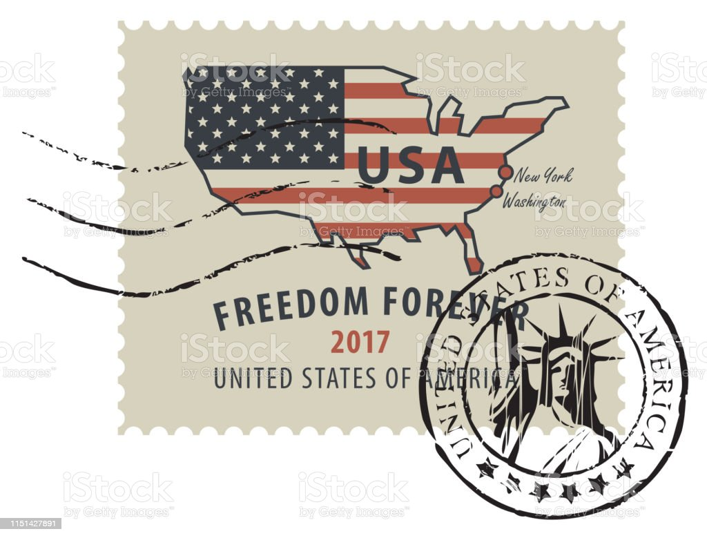 Postage Stamp With American Flag In Form Of Us Map Stock Vector Art - American-flag-us-map