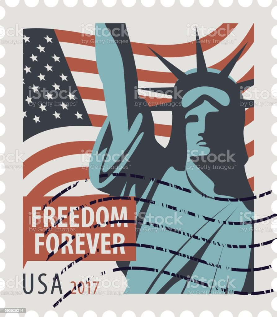 postage stamp with statue of liberty and flag usa arte vetorial de