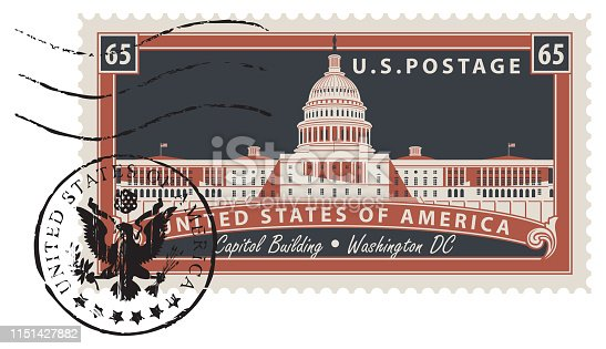 Postage stamp with inscriptions and the image of the US Capitol in Washington DC in retro style. Vector illustration of a USA stamp with a postmark in the form of coat of arms