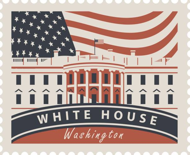 Postage stamp with White House and flag USA Postage stamp with inscriptions and the image of the US Capitol in Washington DC. Vector illustration White house in Washington on the background of american flag white house stock illustrations