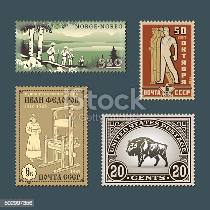 Set of vintage vector old-style various thematic postage stamps. Retro design mark templates of different countries graphic collection. National characteristics and cultural symbols illustrations