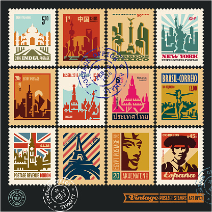 postage stamps, cities of the world, travel labels