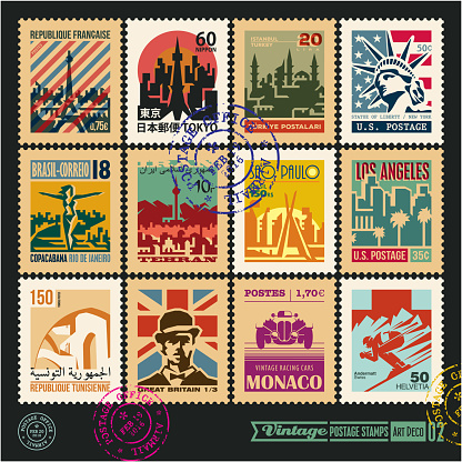 postage stamps, cities of the world, vintage travel labels and badges set, seal and postmark design templates set 2.