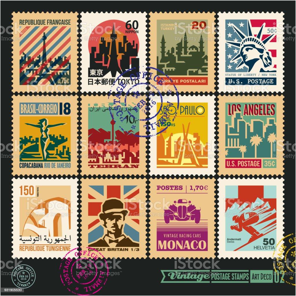 Briefmarken, Städte der Welt, Oldtimer Reise Etiketten und Abzeichen gesetzt, Siegel und Stempel Design-Vorlagen-Set 2. – Vektorgrafik