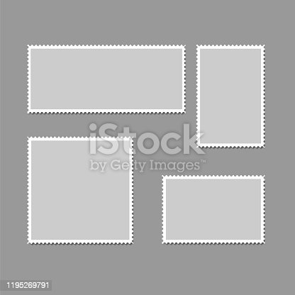 Postage stamps frames. Blank postage stamps in different size for retro paper postcard and post delivery envelope, poststamp collection eps vector illustration
