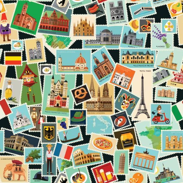 illustrazioni stock, clip art, cartoni animati e icone di tendenza di postage stamps pattern - milan fiorentina